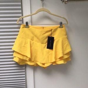 Zara Yellow Ruffle Mini Skirt